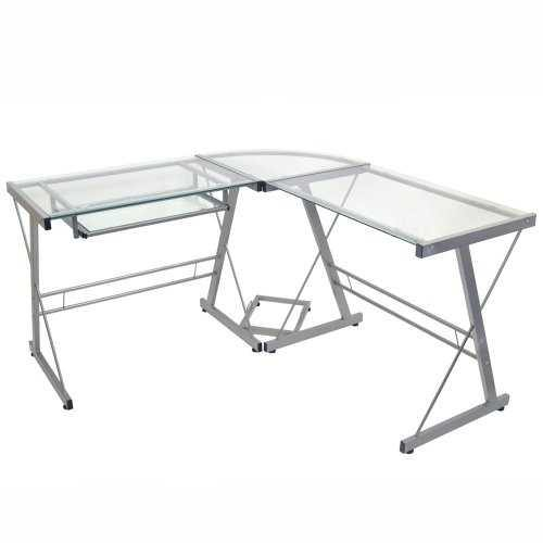 Modern Corner Computer Desk in Metal and Glass - NorCal Cyber Sales