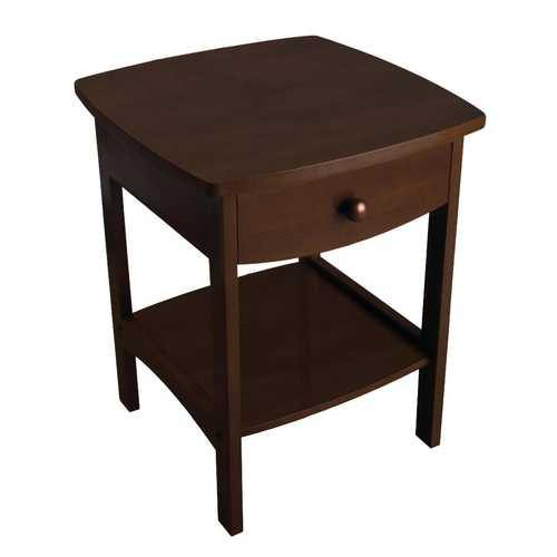 Walnut Finish Accent Table Nightstand with One Drawer - NorCal Cyber Sales