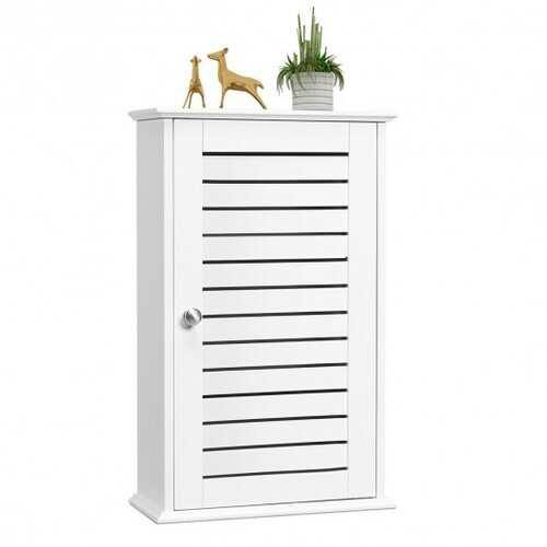 Wall Mount Medicine Cabinet Multifunction Storage Organizer - Color: White