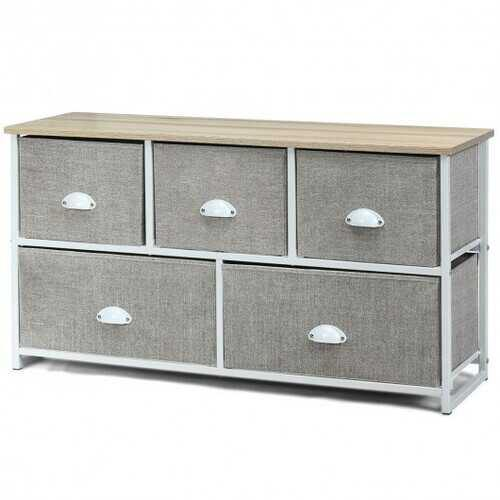 Wood Dresser Storage Unit Side Table Display Organizer-White - Color: White