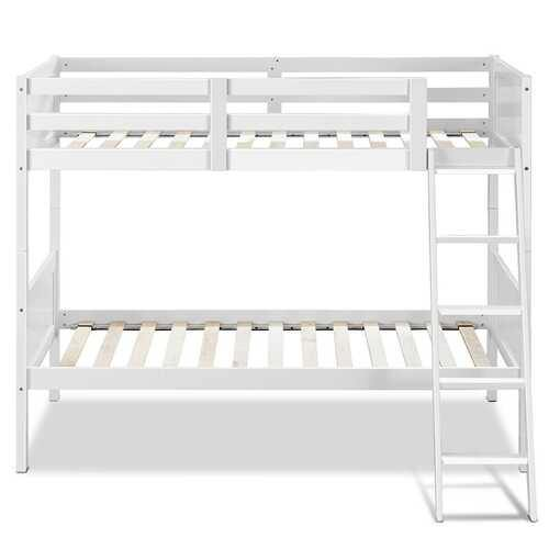 Wooden Bunk Beds Convertable 2 Individual Beds-White - Color: White