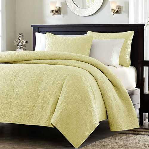 Full / Queen size Quilted Coverlet Set with 2 Shams in Yellow Microsuede Fabric - NorCal Cyber Sales