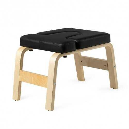 Yoga Headstand Wood Stool with PVC Pads-Black - Color: Black