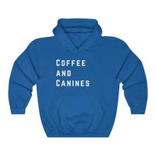 Load image into Gallery viewer, Coffee and Canines, Unisex Hooded Sweatshirt, Dog Lovers, Coffee Lovers,