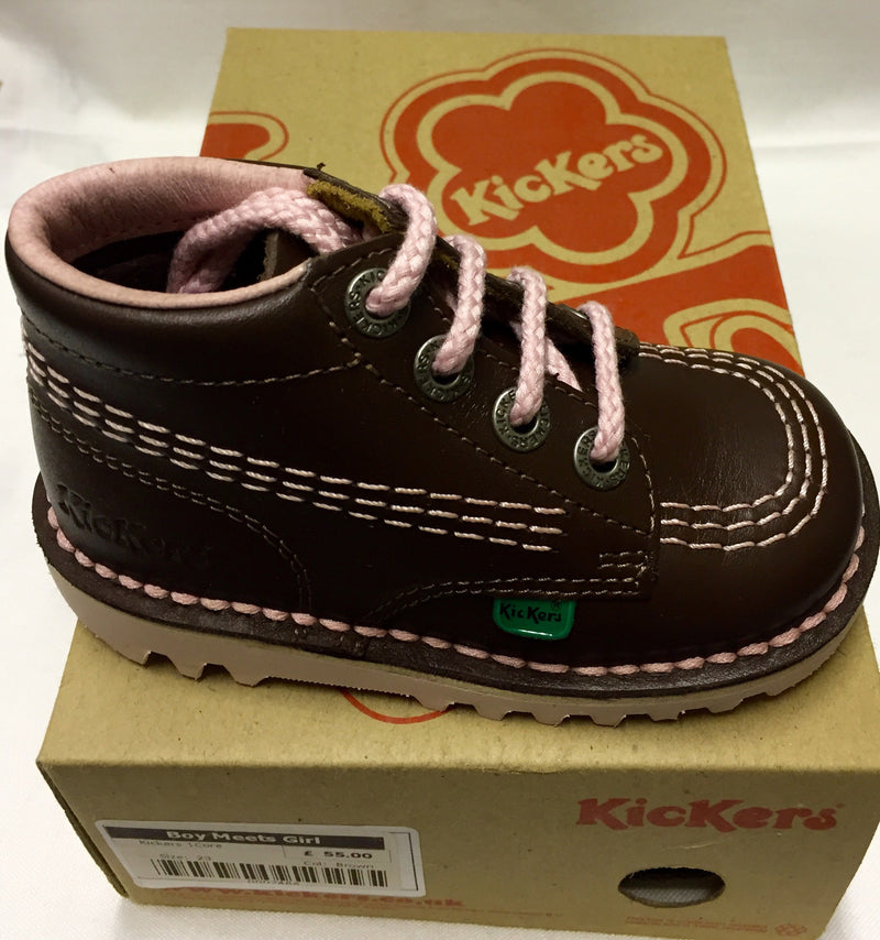 Kickers Brown with Pink Lace Boots