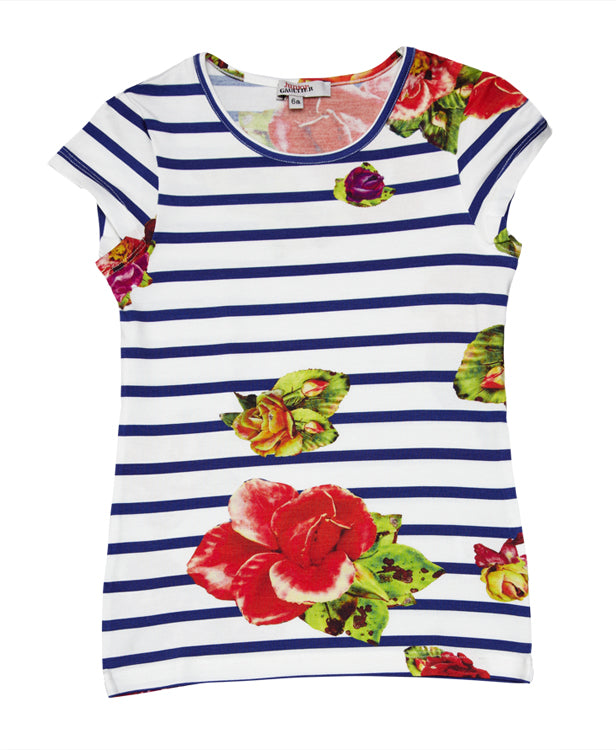 Junior Gaultier Striped Floral Tee