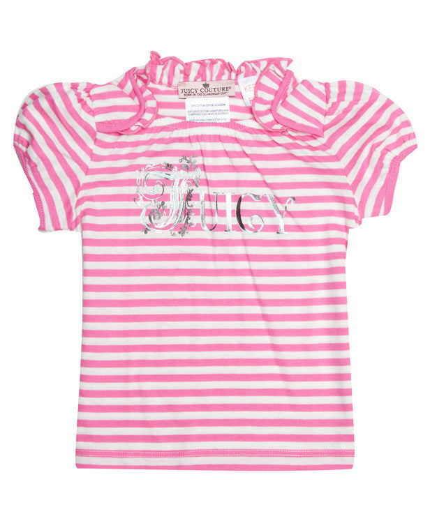 Baby Girls Striped Juicy T-Shirt - Children's Fashion Outlet