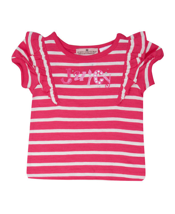 Baby Girls Juicy Stripe T-Shirt - Children's Fashion Outlet