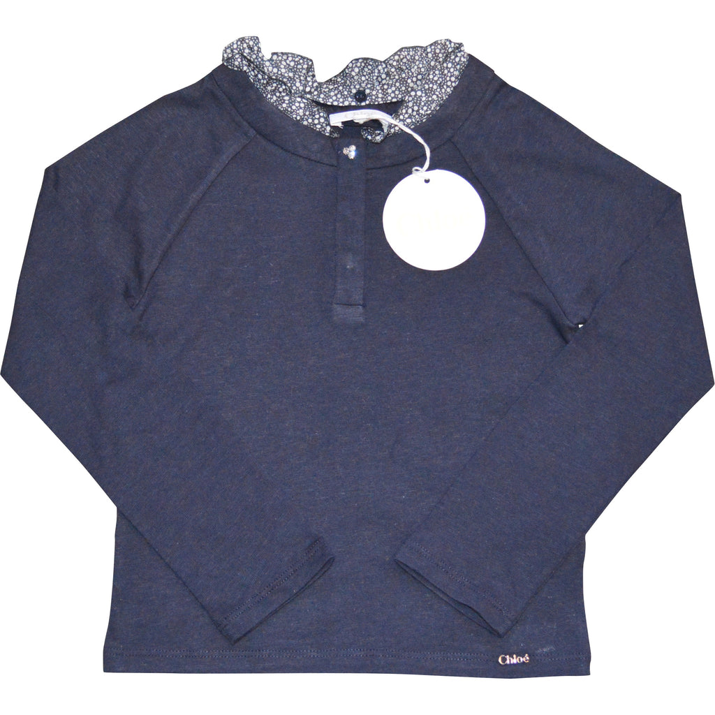 Chloe Navy Top with Frilled Neck - Children's Fashion Outlet