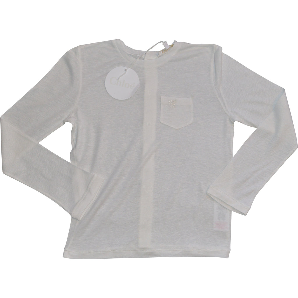 Chloe Cream Long Sleeved Top - Children's Fashion Outlet