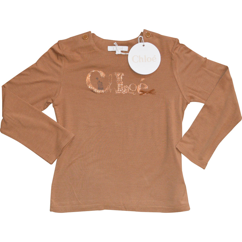 Chloe Long Sleeved Brown Top - Children's Fashion Outlet
