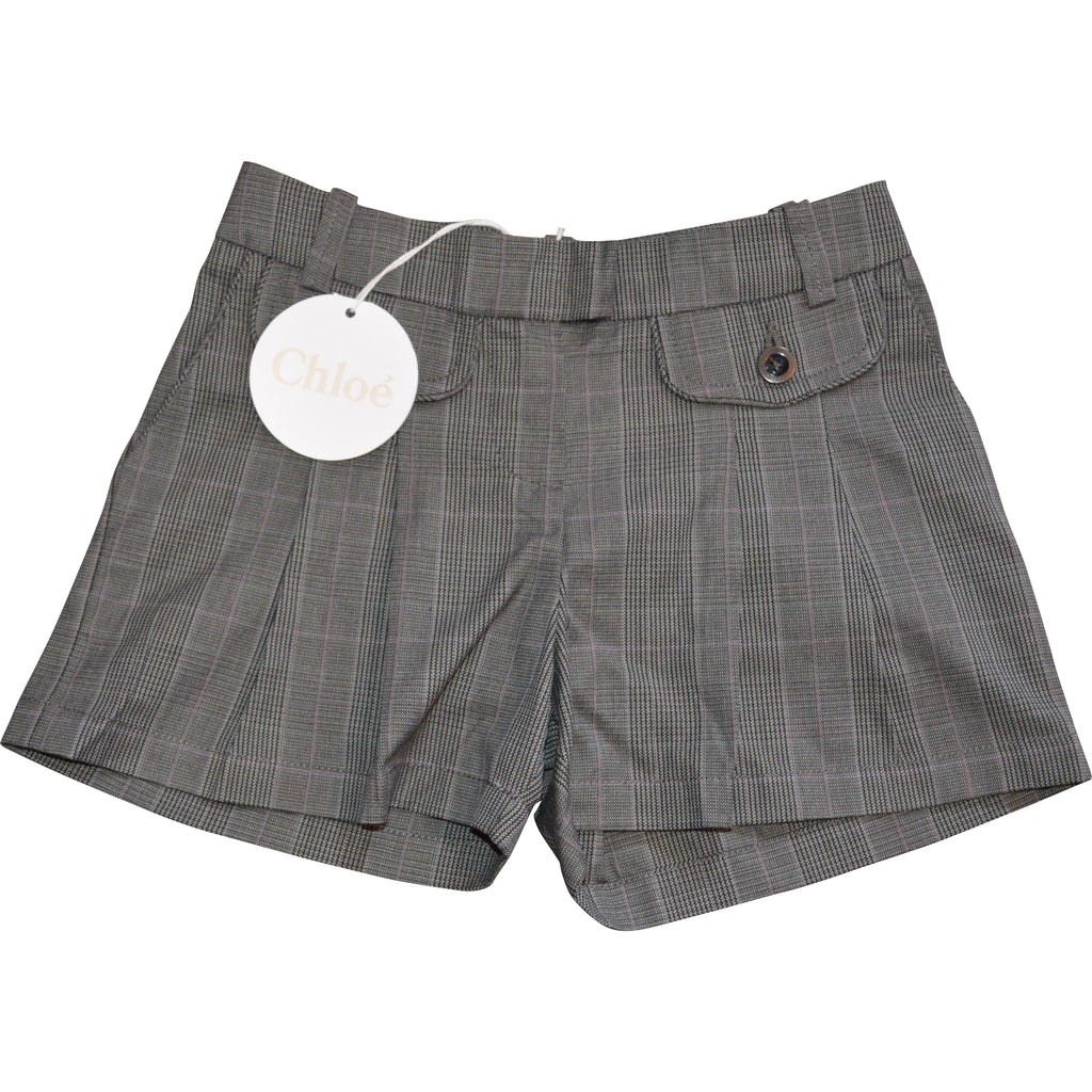 Chloe Grey Checked Shorts - Children's Fashion Outlet