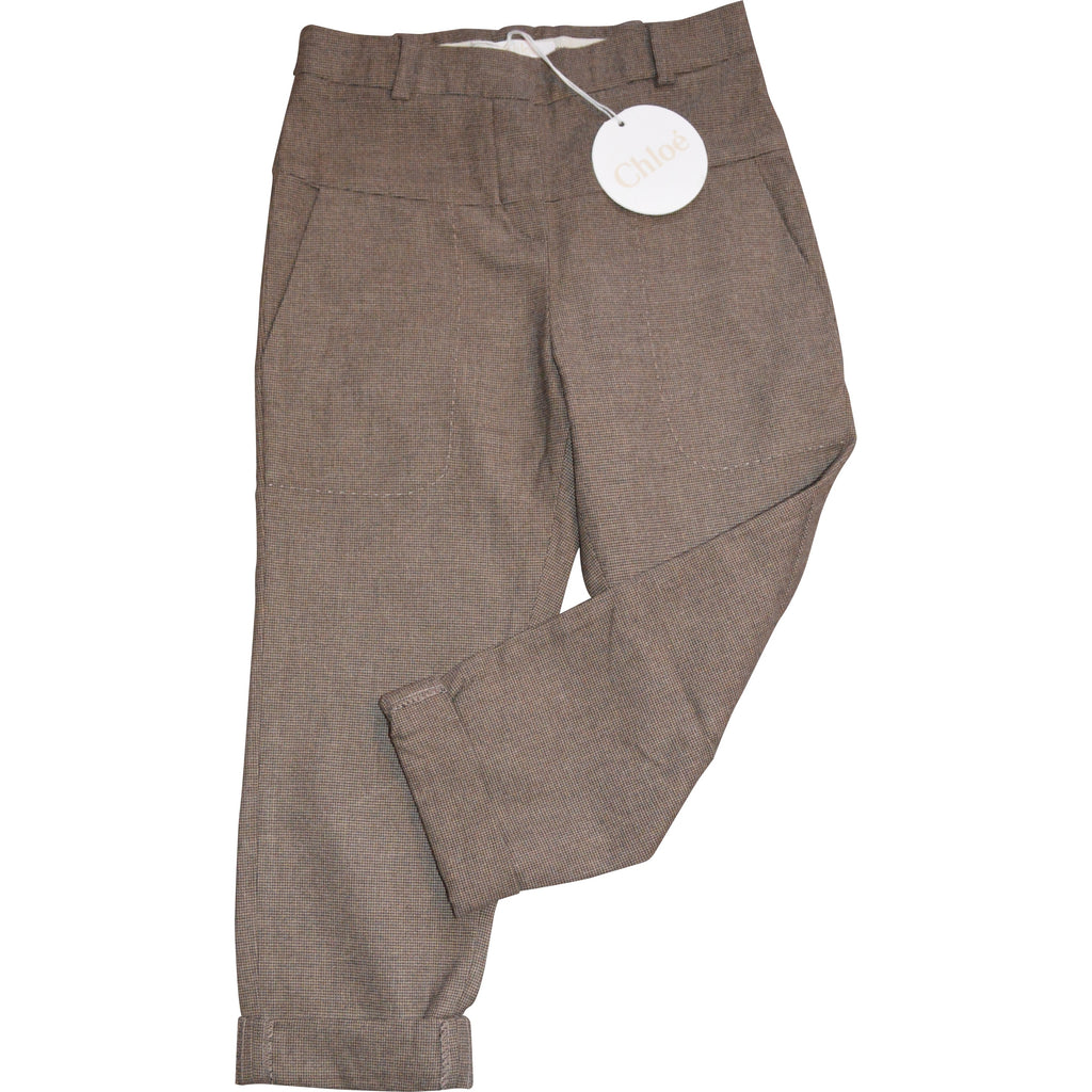 Chloe Brown Checked Trousers - Children's Fashion Outlet