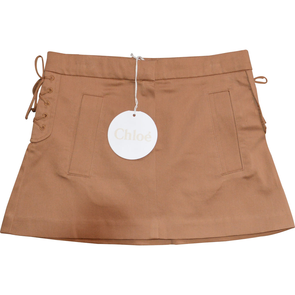 Chloe Brown Tie Sided Skirt - Children's Fashion Outlet