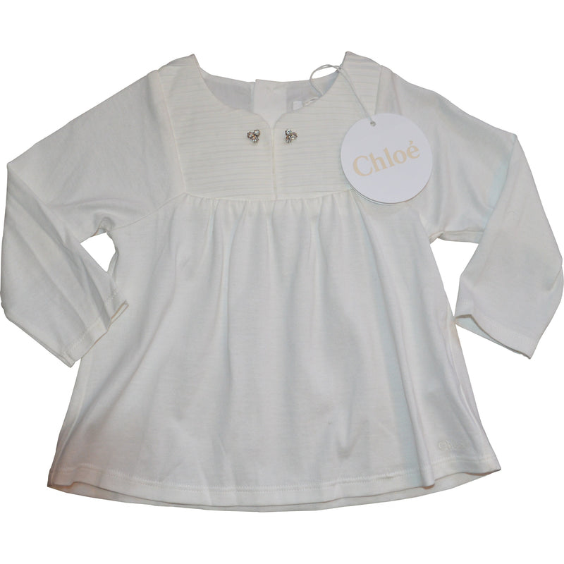 Chloe Pleated Top with Diamonte Buttons - Children's Fashion Outlet