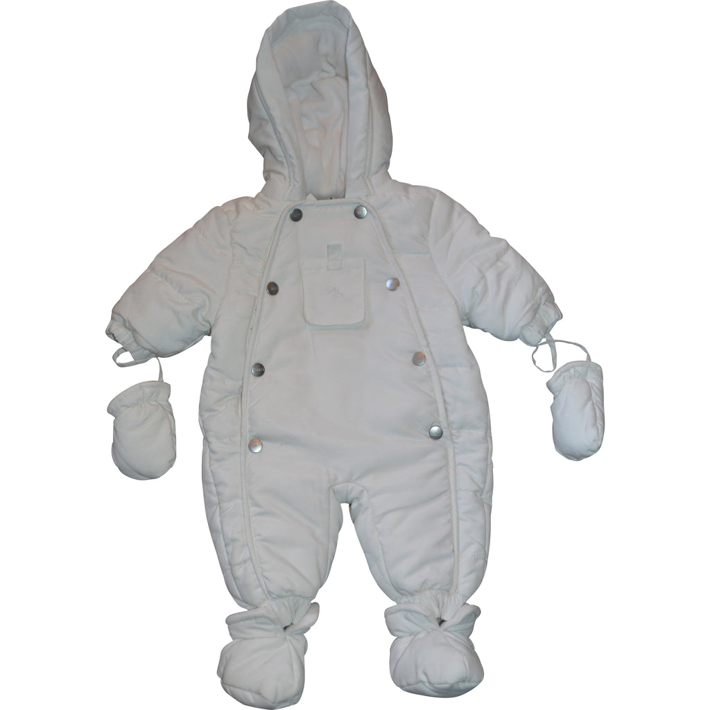 Mirtillo White Snow Suits with pocket