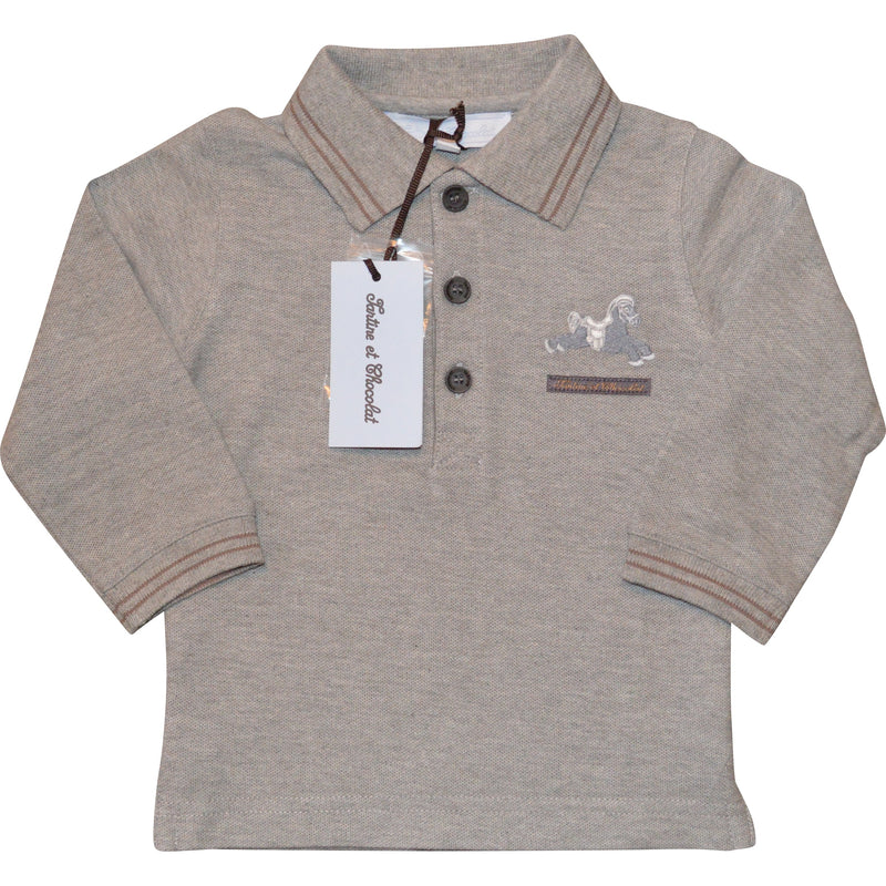 Tartine et Chocolat Long Sleeved Polo Top with Horse