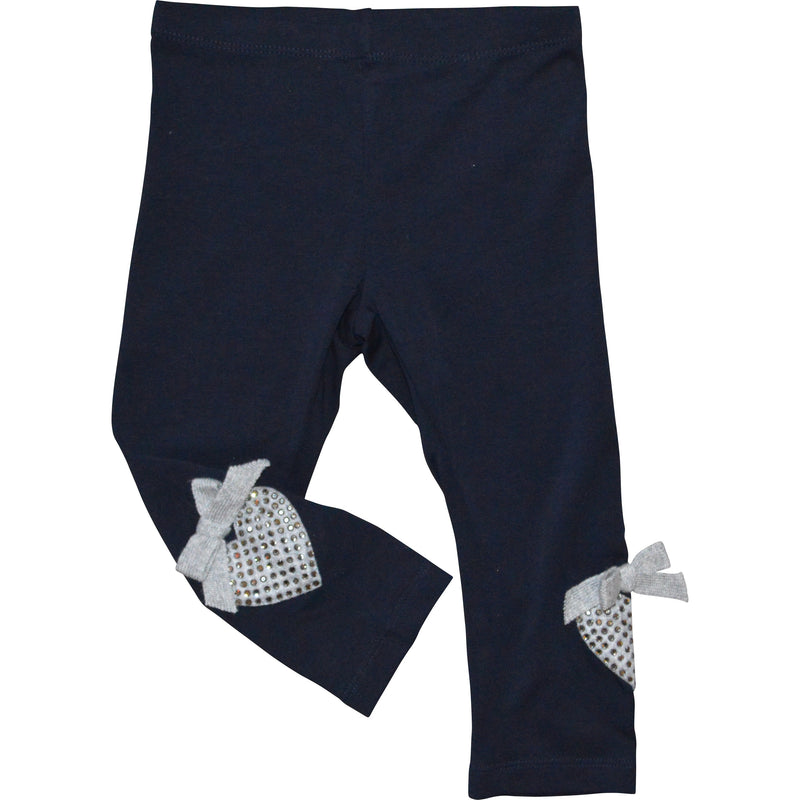 Monnalisa Navy Leggings with a Diamonte Heart