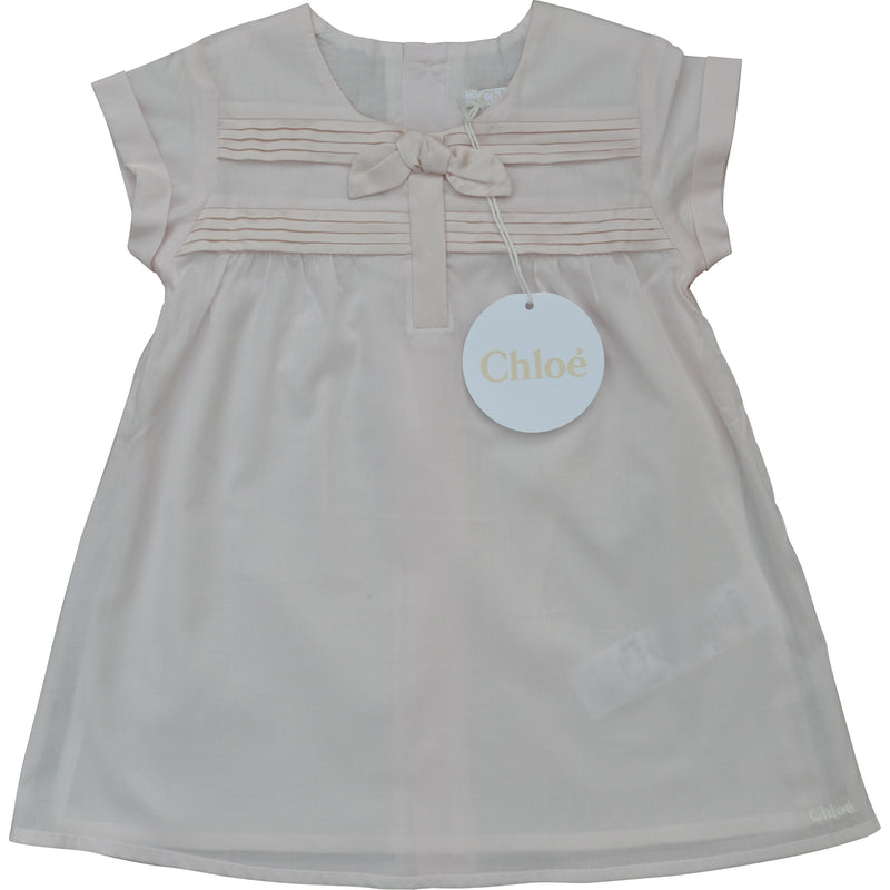 Chloe Pink Bow and Pleat Dress - Children's Fashion Outlet