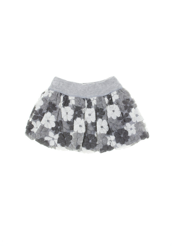 Monnalisa Grey Flowered Puffball Skirt