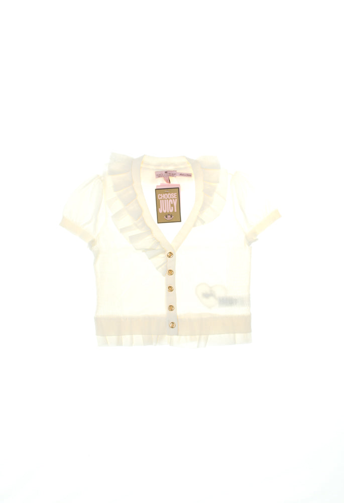 Juicy Couture Short Sleeved Cream Frill Cardigan