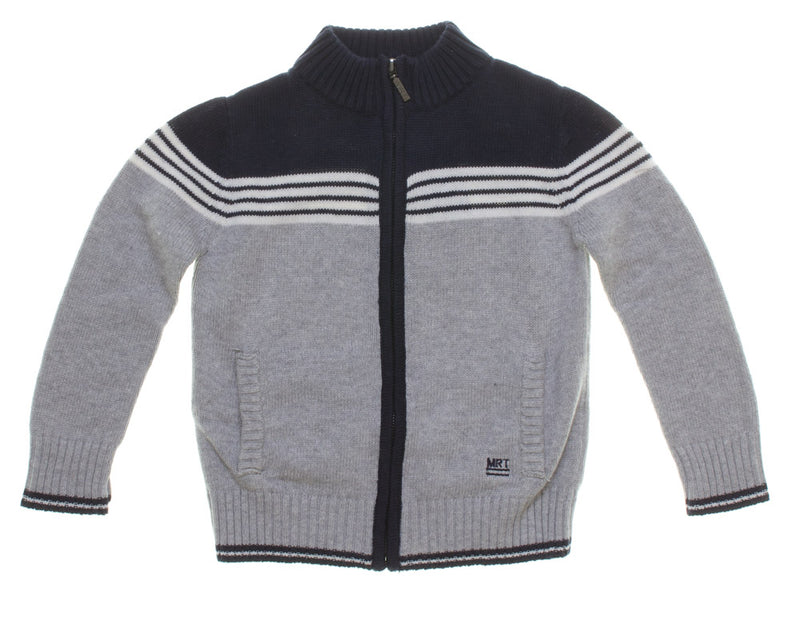 Mirtello Boys Grey and Navy Cardigan