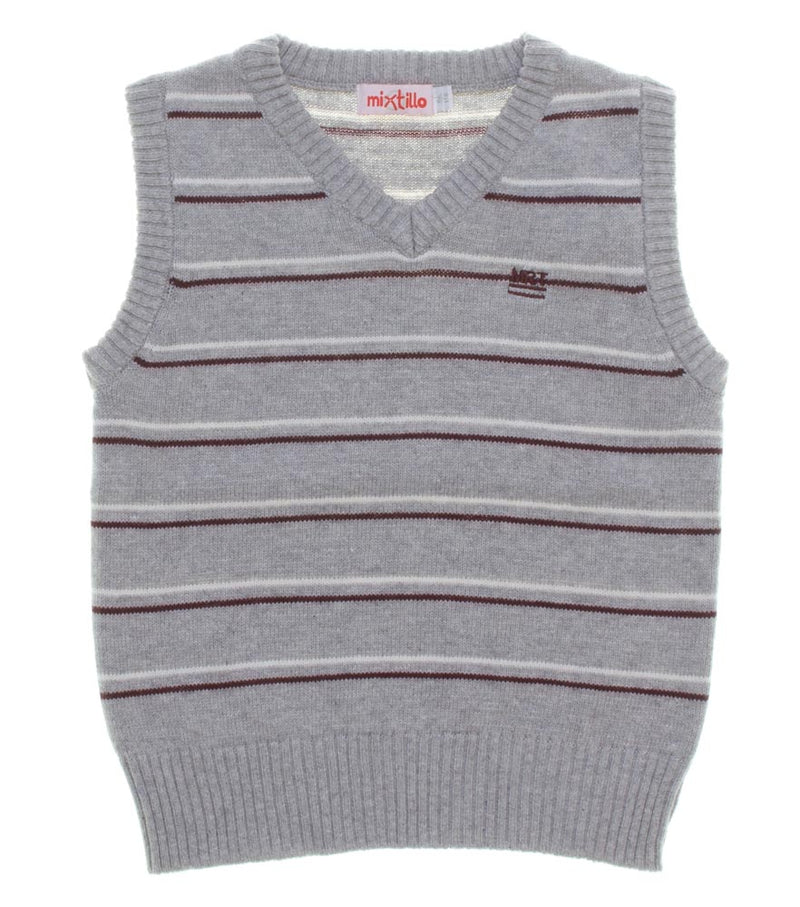 Mirtillo Boys Grey Stripped Tank Top