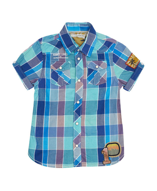 Scotch Shrunk Summer Shirt (blue and yellow)