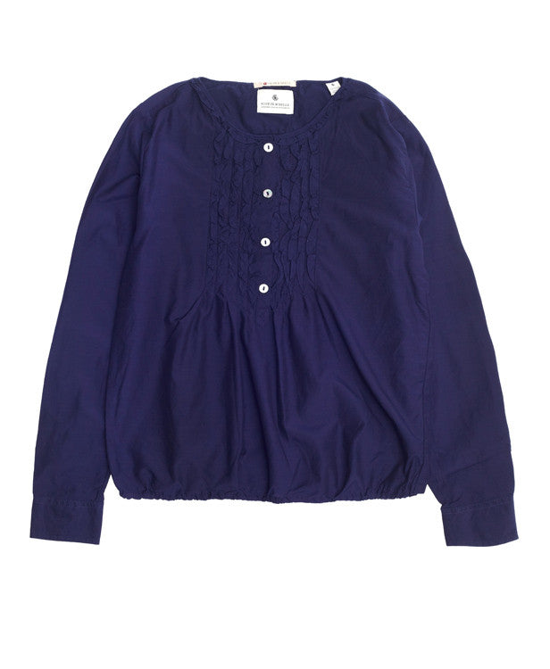 Scotch R'Belle Ruffled Blouse Navy and White