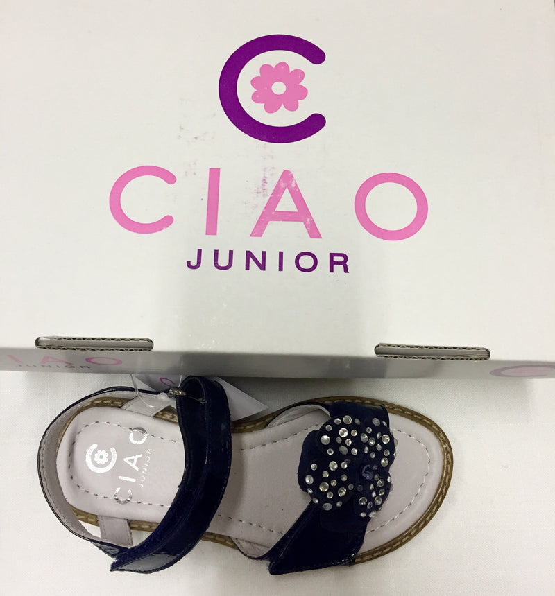 Ciao Junior Diamonte Flower Front Sandals - Children's Fashion Outlet
