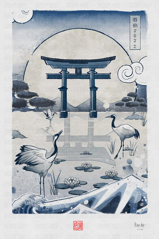 Japan Blue Collection - Cranes Giclée