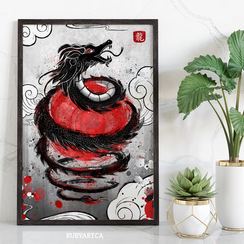 Japan - Dragon Flag Art Print