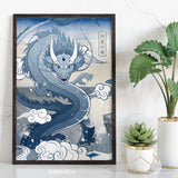 Japan Blue - Dragon Art Print