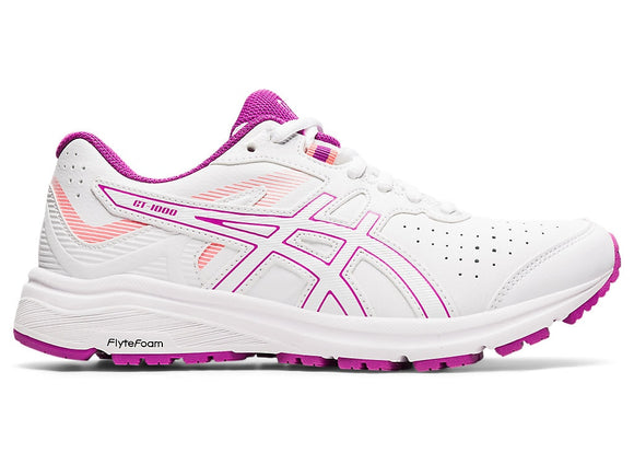 Asics Women's GT-1000 Leather (D-Wider Width) White/Digital Grape