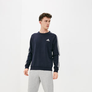 Adidas Essentials Three Stripes Sweatshirt - Legend Ink/ White