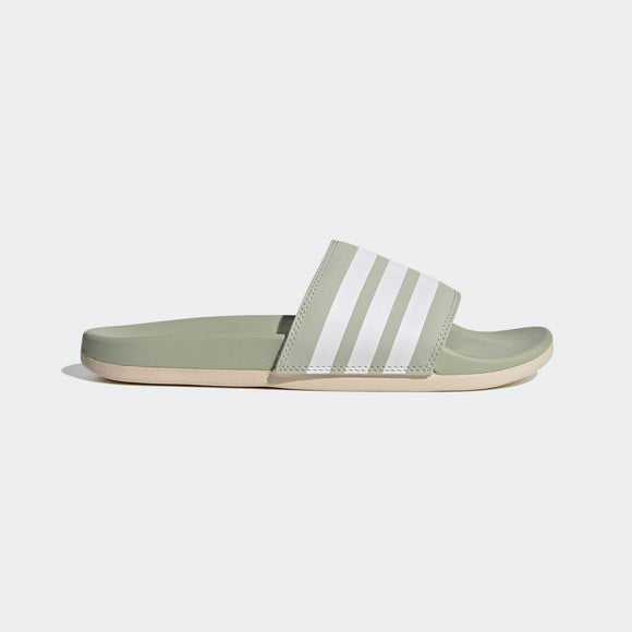Adidas Ladies Adilette Comfort Slides - Halo Green / Cloud White / Halo Ivory