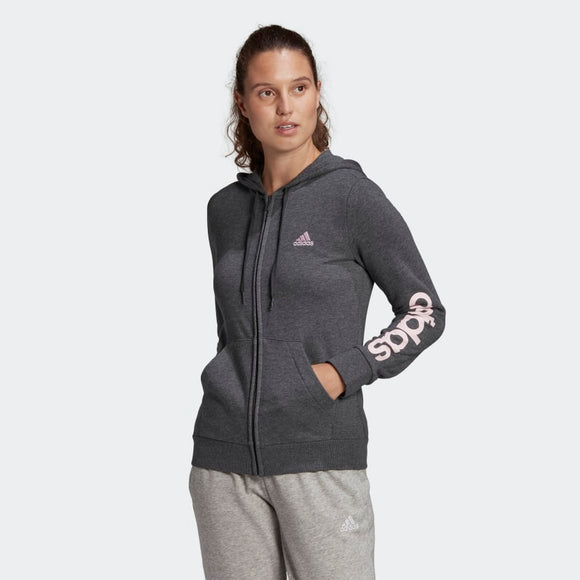 Adidas Ladies Essentials Logo Full-Zip Hoodie - Dark Grey Heather/ Clear Pink