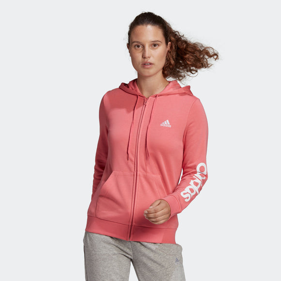 Adidas Ladies Essentials Logo Full-Zip Hoodie - Hazy Rose