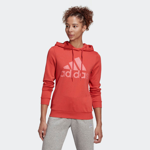 Adidas Essentials Relaxed Logo Hoodie - Crew Red/ Hazy Rose