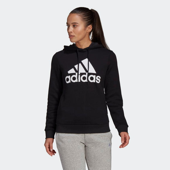 Adidas Ladies Loungewear Essential Fleece Logo Hoodie - Black/White