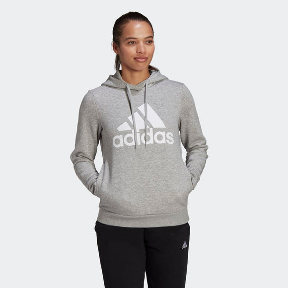 Adidas Loungewear Essentials Logo Fleece Hoodie - Medium Grey Heather/ White