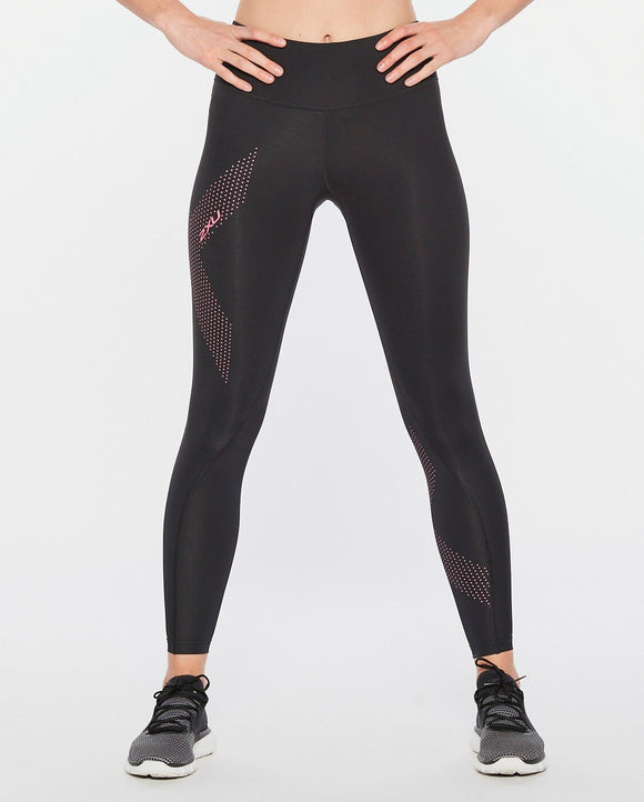 2XU Mid-Rise Compression Tights Black/Pink Dotted Logo