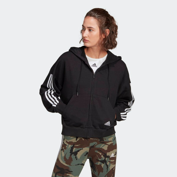 Adidas Essentials Cut 3-Stripes Full-Zip Hoodie - Black/White