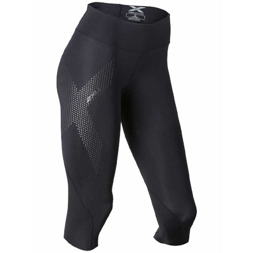 2XU Mid-Rise 3/4 Comp Tight Black/ Dotted Black