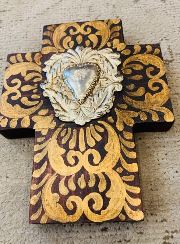 MEXICAN MILAGRO HEART CROSS