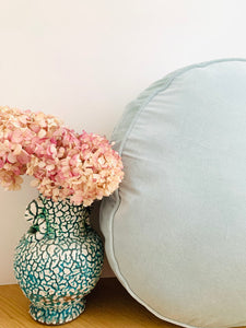 Velvet round cushion - Powder blue  (60 x 60cm)