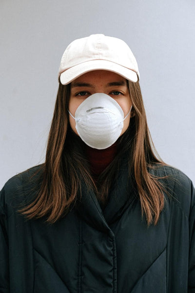 girl wearing N95 mask