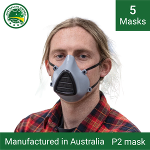 5x Reusable P1/P2 face masks (grey) - Including 15 replacement filters