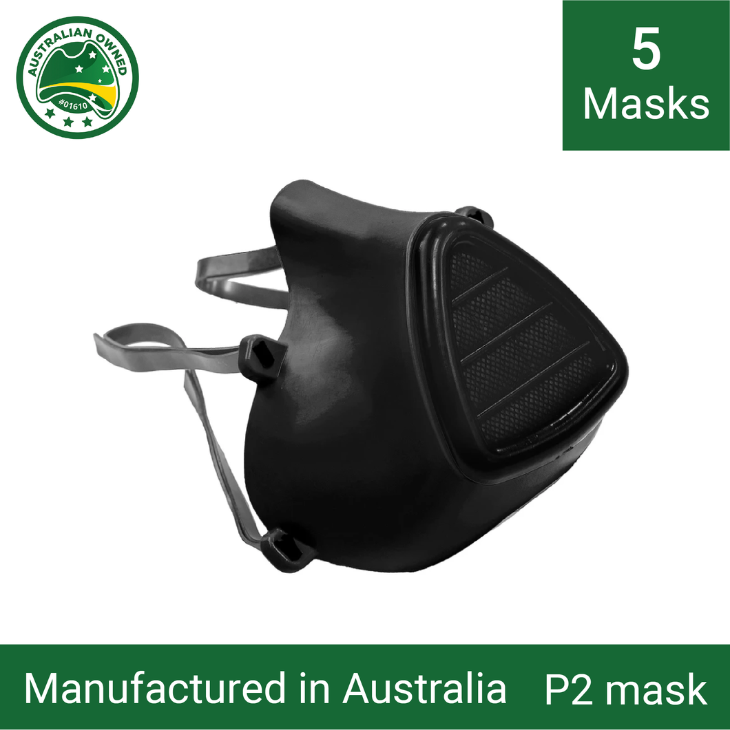 5x Reusable P1/P2 face masks (black) - Including 15 replacement filters