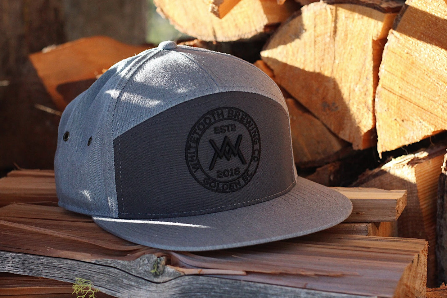 Custom WTB 7 Panel Strapback Hat - Heather Grey/Charcoal